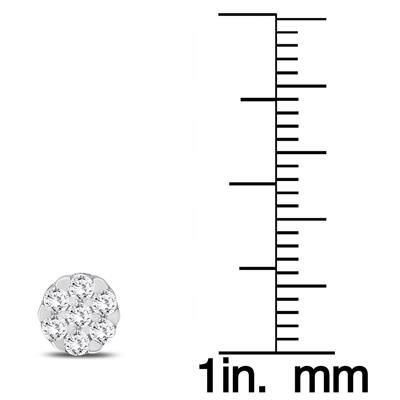 1/2 Carat TW Round Diamond Cluster Earrings in 10K White Gold