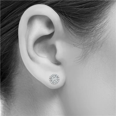 1/2 Carat TW Round Diamond Cluster Earrings in 10K White Gold