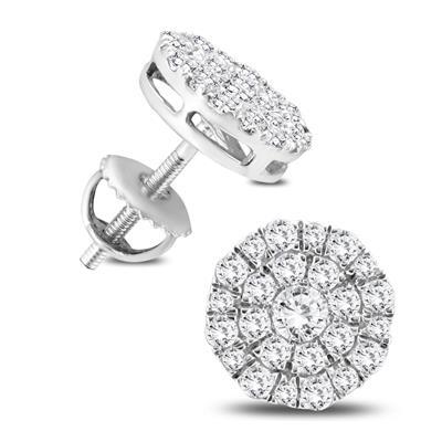1 Carat TW Round Diamond Cluster Earrings in 10K White Gold