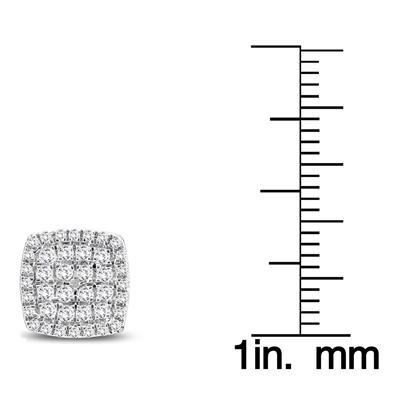 1/2 Carat TW Diamond Cluster Earrings in 10K White Gold