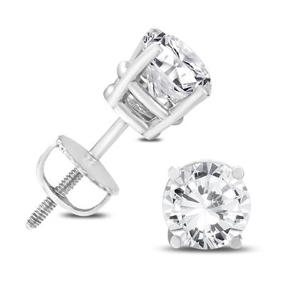 14K White Gold 2 Carat TW AGS Certified Diamond Solitaire Earrings (K-L, I2-I3)