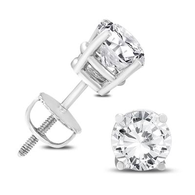 14K White Gold 2 Carat TW AGS Certified Diamond Solitaire Earrings