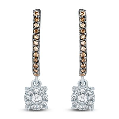 1/4 Carat TW Brown and White Diamond Drop Earrings in 10K White Gold