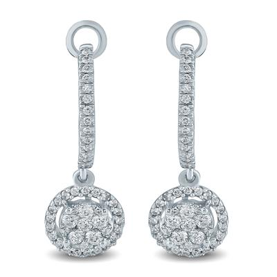 1/2 Carat TW Diamond Cluster Drop Earrings in 10K White  Gold