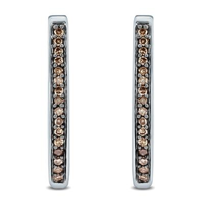 1/10 Carat TW Brown Diamond Hoop Earrings in 10K White Gold