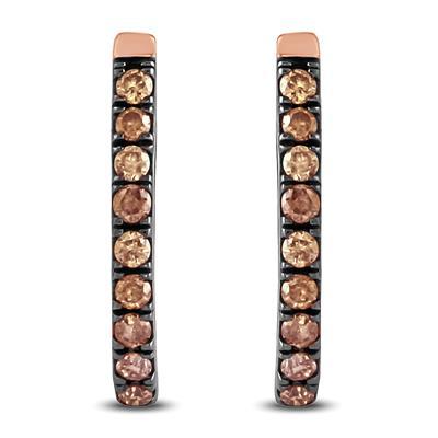 1/5 Carat TW Brown Diamond Hoop Earrings in 10K Rose Gold