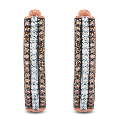 1/3 Carat TW Brown and White Diamond Hoop Earrings in 10K Rose Gold