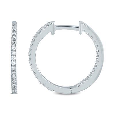 1/2 Carat TW  Diamond  Hoop Earrings in 10K White Gold