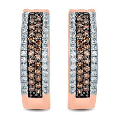 1/2 Carat TW Brown and White Diamond Hoop Earrings in 10K Rose Gold