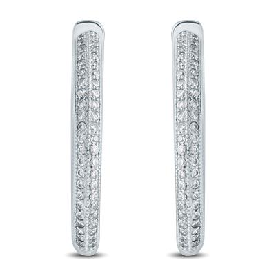 7/8 Carat TW Diamond Hoop Earrings in 10K White Gold