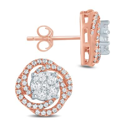 5/8 Carat TW Diamond Cluster Swirl Earrings in 10K Rose  Gold