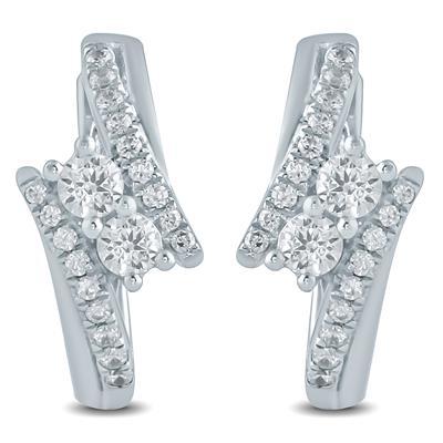 1/2 Carat TW Diamond Two Stone Earrings in 10K White Gold