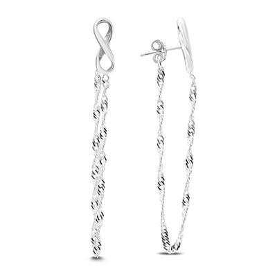Infinity Chain Drop Earrings in .925 Sterling Silver