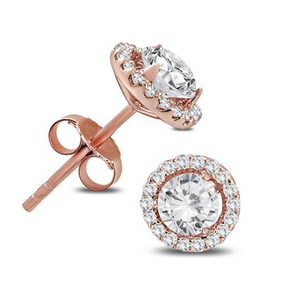 1 Carat TW Diamond Halo Earrings in 14K Rose Gold