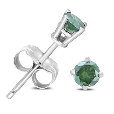 1/4 Carat TW Round Green Diamond Solitaire Stud Earring in 10k White Gold