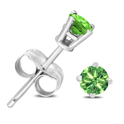 1/4 Carat TW Round Green Diamond Solitaire Stud Earrings in 10k White Gold