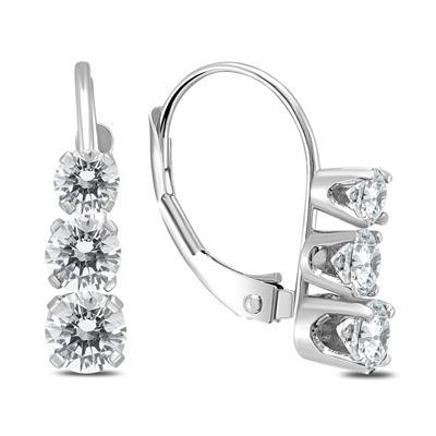 1 Carat TW Three Stone Drop Earrings in 14K White Gold