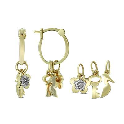 Diamond Accent Charm Hoop Earring in .925 Sterling Silver (Shoe,Key,Flower)