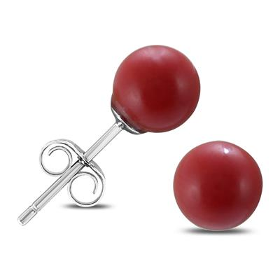 6mm Red Coral Ball Earring in .925 Sterling Silver