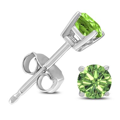 1/2 Carat TW Round Green Diamond Solitaire Stud Earring in 10k White Gold