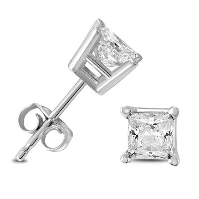 SIGNATURE QUALITY 3/4 Carat TW Princess Diamond Studs in 14K White Gold