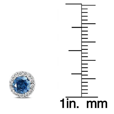 3/4 Carat TW Blue and White Diamond Halo Earrings in 14K White Gold