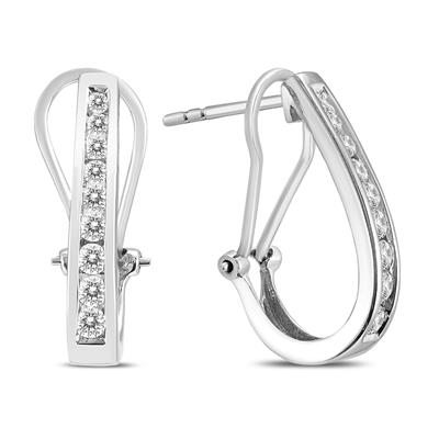 1/2 Carat TW Channel-Set Diamond Omega Back Hoop Earrings in 14K White Gold (H-I Color, SI1-SI2 Clarity)