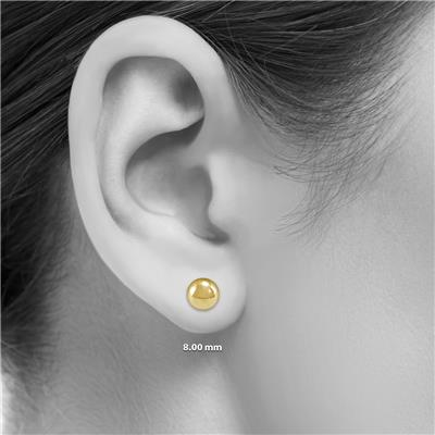 14K Yellow Gold 8mm Button Ball Stud Earrings