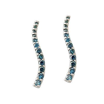 1.00CTW Blue Diamond Earrings Set in 14K White Gold