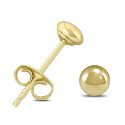 14K Yellow Gold 4mm Button Ball Stud Earrings