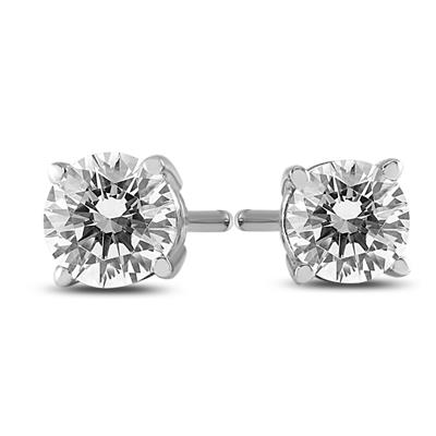 1/3 Carat TW AGS Certified Round Diamond Solitaire Stud Earrings in 14K White Gold (I-J Color, SI1-SI2 Clarity)