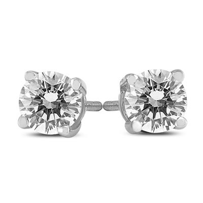 1/2 Carat TW AGS Certified Round Diamond Solitaire Stud Earrings in 14K White Gold (I-J Color, SI1-SI2 Clarity)