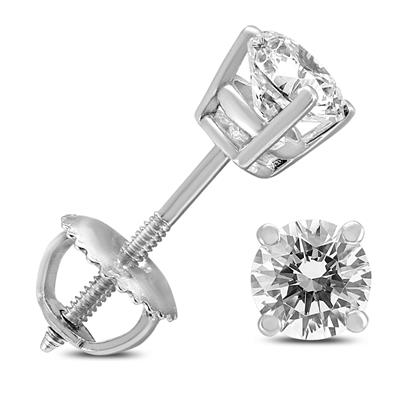 3/4 Carat TW AGS Certified Round Diamond Solitaire Stud Earrings in 14K White Gold (I-J Color, SI1-SI2 Clarity)