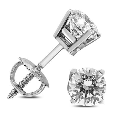 1 1/2 Carat TW AGS Certified Round Diamond Solitaire Stud Earrings in 14K White Gold (I-J Color, SI1-SI2 Clarity)
