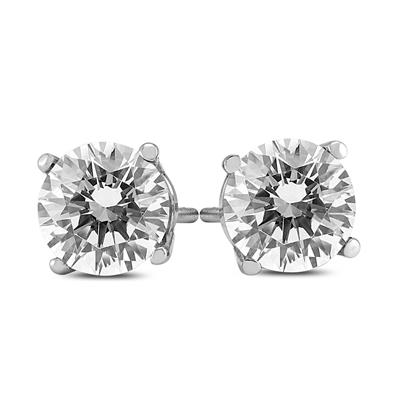 2 Carat TW AGS Certified Round Diamond Solitaire Stud Earrings in 14K White Gold (I-J Color, SI1-SI2 Clarity)