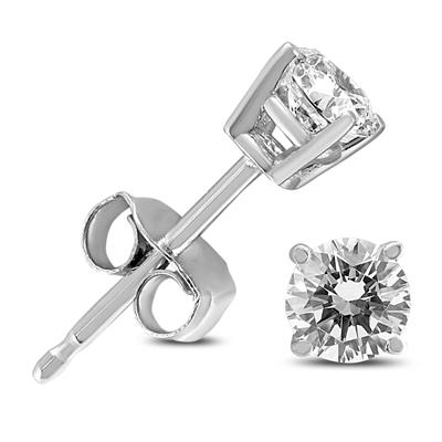 3/8 Carat TW Round Diamond Solitaire Stud Earrings In 14k White Gold