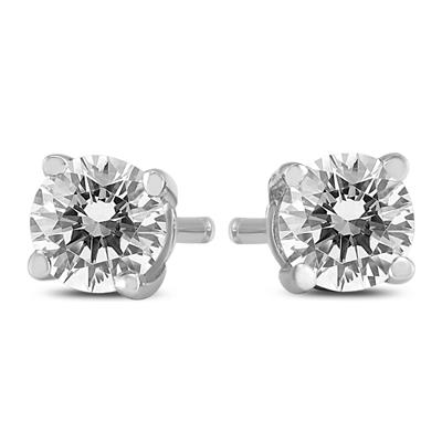1/2 Carat TW Round Diamond Solitaire Stud Earrings In 14k White Gold