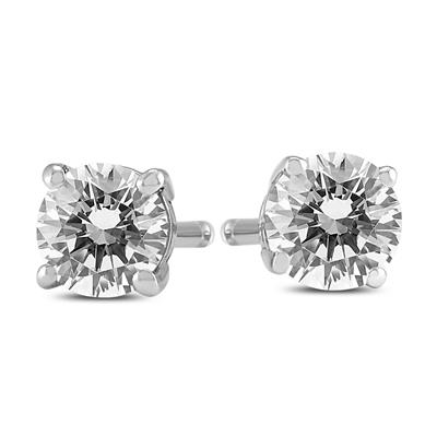 3/4 Carat TW Round Diamond Solitaire Stud Earrings In 14k White Gold