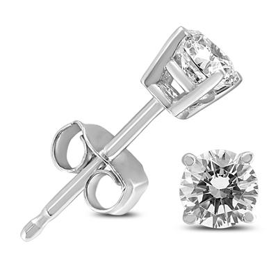 1/4 Carat TW Round Diamond Solitaire Stud Earrings In 14k White Gold