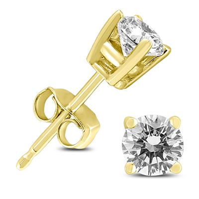 1/2 Carat TW Round Diamond Solitaire Stud Earrings In 14k Yellow Gold