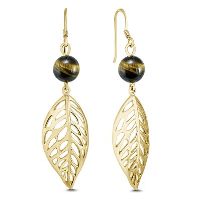 Dangling Cats Eye Leaf Earrings in 14K Gold Plated .925 Sterling Silver
