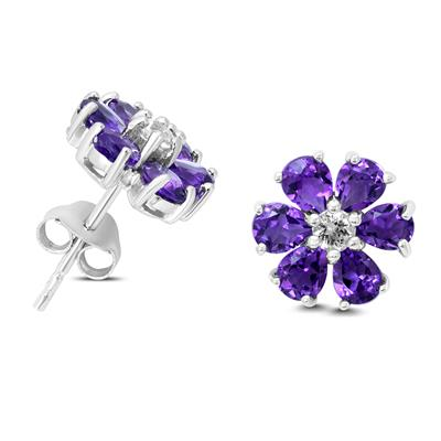 Amethyst and White Topaz Flower Earrings in .925 Sterling Silver