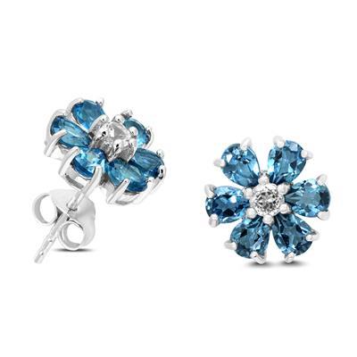 London Blue and White Topaz Flower Earrings in .925 Sterling Silver