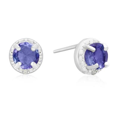 1 Carat Tanzanite and Diamond Halo Stud Earrings in .925 Sterling Silver