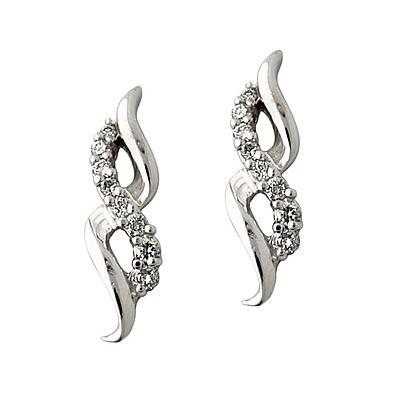 Diamond Ribbon Earrings in 14kt White Gold