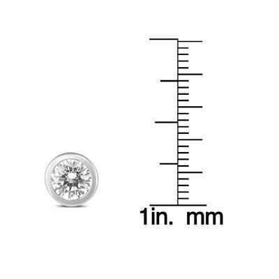 1 1/2 Carat TW AGS Certified Bezel Diamond Solitaire Stud Earrings in 14K White Gold