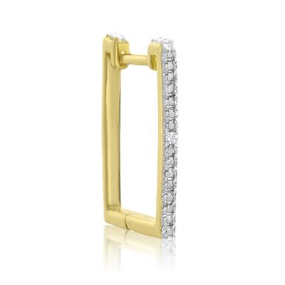 Trendy Diamond Hoop Earrings in Gold Overlay