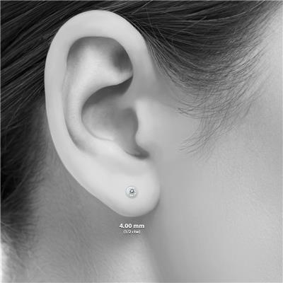 1/2 Carat TW Bezel Diamond Solitaire Earrings in 14K White Gold