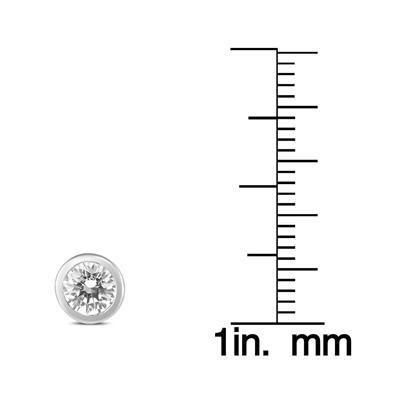 1 Carat TW AGS Certified Bezel Diamond Solitaire Stud Earrings in 14K White Gold