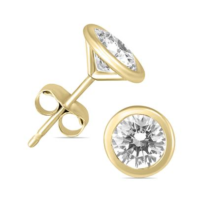 5/8 Carat TW Bezel Diamond Solitaire Earrings in 14K Yellow Gold